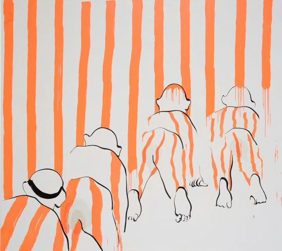 Red Stripes with Stain. Tala Madani (2008)
